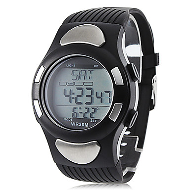 Unisex Heart Rate Monitor Black Silicone Band Digital Wrist Watch with Calorie Counter  Cool Watch Unique Watch
