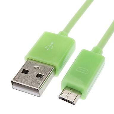Samsung / Huawei / ZTE / Nokia / HTC Yeşil (3M) için Erkek Data Kablosu USB Erkek için mikro USB