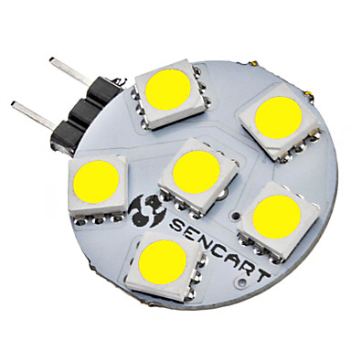 SENCART 1W 6500lm G4 LED Bi-Pin lamput 6 LED-helmet SMD 5050 Neutraali valkoinen 12V