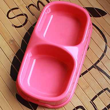 Plastic Pet Food Double Bowl for Dogs Cats (Assorted Color,22 x 12 x 5cm)