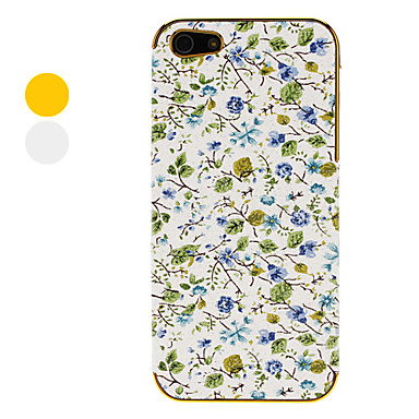 Blue Roses with Green Leafs Pattern Electroplated Hard Case for iPhone 5 (Assorted Colors)