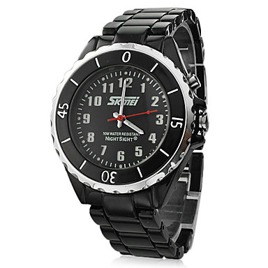 Negro Dial Negro Cerámica reloj de pulsera de cuarzo analógico Band Hombres