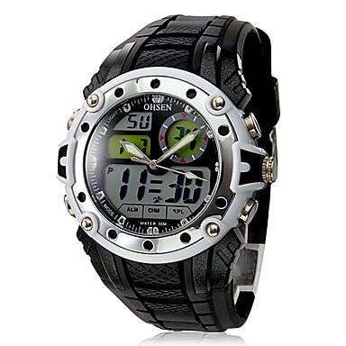 Unisex Digital-Analog Multi-Functional Silver Case Black Rubber Wrist Watch