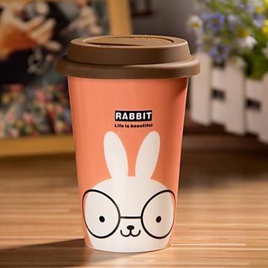 Esnek tutkal kapak fincan karikatür tavşan kupa