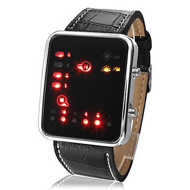 Hombre Digital Reloj de Pulsera Calendario LED PU Banda Casual Cool Negro