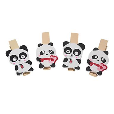 Panda Desen Ahşap Klip (4 ADET)