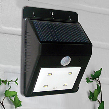 4-LED Beyaz Işık Güneş Enerjili PIR Sensör Açık Işık (BDT-57164)