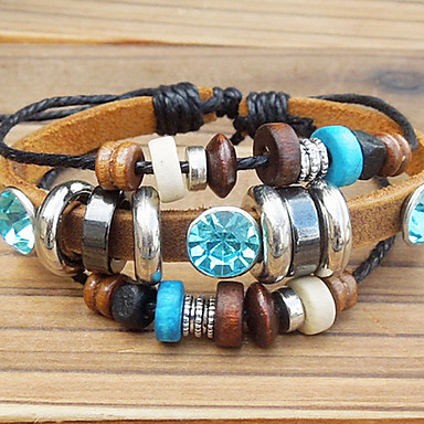 Women's Charm Bracelet Vintage Bracelet Unique Design Fashion Beaded Leather Wood Alloy Others Jewelry Party Daily Casual Sports Costume