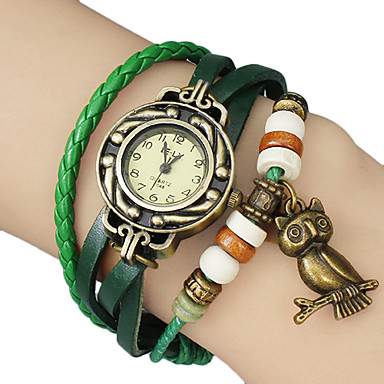 Women's Vintage Owl Pendant Leather Band Quartz Analog Bracelet Watch (Assorted Colors) Cool Watches Unique Watches