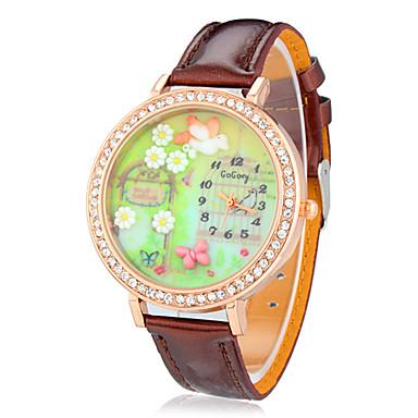 Bayanların Moda Saat Bilek Saati Quartz imitasyon Pırlanta Bant Kelebek Çiçekli Kahverengi Kahverengi