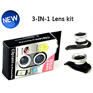 3-in-1 Universal Clip 180°Fish Eye Lens and Wide Angle with 0.67X Macro Lens for iPhone 4/4S, iPad and Other Cellphone