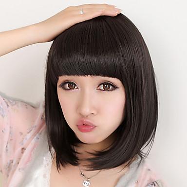 Sentetik Peruklar Düz Bob Saç Kesimi / Bantlı Sentetik Saç 8 inç Doğa siyah Peruk Kadın's Orta Bonesiz Siyah