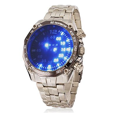 Erkek Bilek Saati Dijital LED Paslanmaz Çelik Bant Gümüş