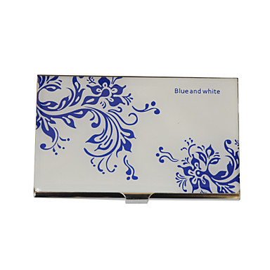 Personalizado Blue-White Flower Pattern gravado Negócios Titular