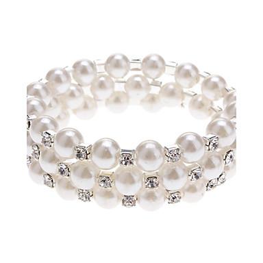 ieftine Brățări-Pentru femei Perle Bratari Wrap Lantul de tenis femei Design Unic Modă Perle Bijuterii brățară Alb-Argintiu Pentru Nuntă Petrecere Zilnic Casual Mascaradă Petrecere Logodnă / Imitație de Perle