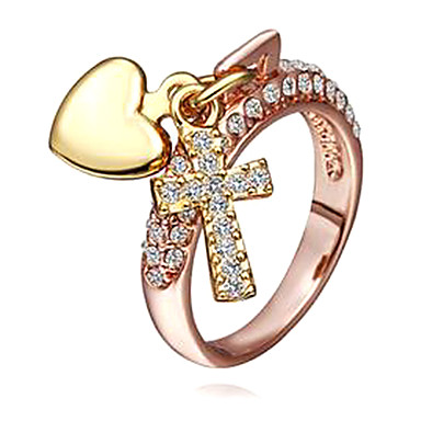 Sweet Women's Multicolor Rhinestone Statement Rings(Rose,Gold)(1 Pc)size 8