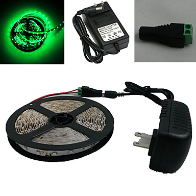 5M 300X3528 Smd Green Strip Light and Connector and Ac110-240V to Dc12V3A Transformer