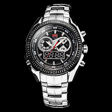 Erkek Spor Saat Quartz Japon Kuvartz Takvim Kronograf Su Resisdansı alarm Paslanmaz Çelik Bant Gümüş Beyaz Siyah