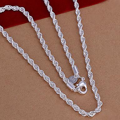 Kadın Zincir Kolyeler Bakır Gümüş Kaplama Moda Gümüş Mücevher Için Düğün Parti Özel Anlar Doğumgünü Günlük Spor
