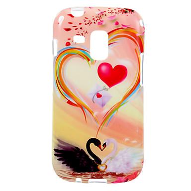 Samsung Galaxy Trend Duos S7562 için Kuğu Desen TPU Yumuşak Koruyucu Case Arka Kapak Aşk
