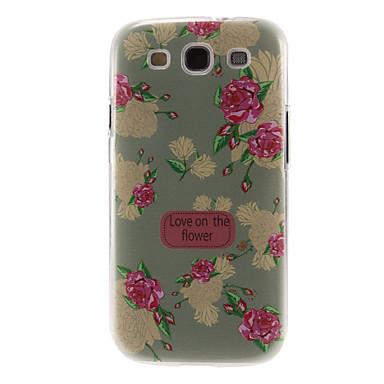 Samsung Galaxy S3 i9300 için Açık Yeşil Şakayık Desen Plastik Koruyucu Hard Case Arka Kapak