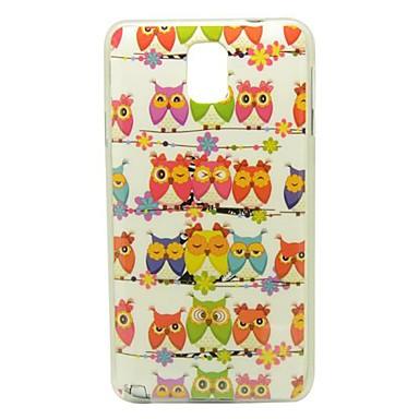 Samsung Galaxy Note N9000 için 3 Direk Desen IMD Zanaat Pürüzsüz TPU Case üzerinde baykuşlar