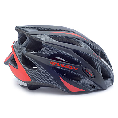 MOON Adults Bike Helmet 21 Vents Impact Resistant, Adjustable Fit, Removable Visor EPS, PC Sports Road Cycling / Recreational Cycling / Cycling / Bike - Black / Black / Red