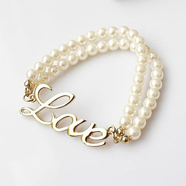 Vintage Imitation pearls 17cm Women's  Alloy Charm Bracelet (1 Pc)