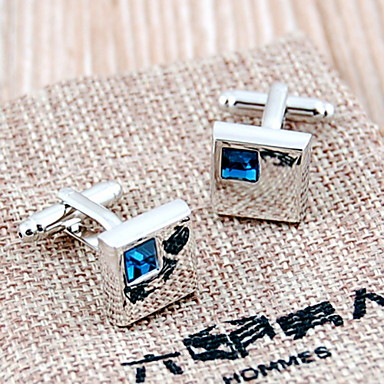 Luxurious French Silver Plated & Rhinestone Men's Cufflinks (Blue,1 Pair)