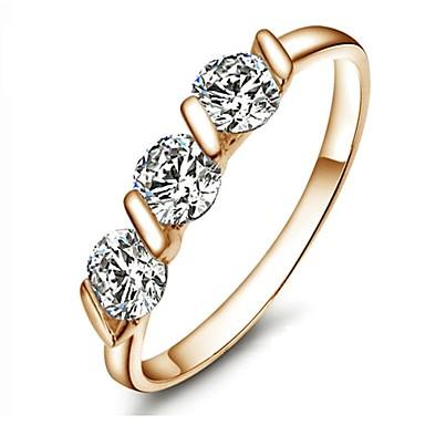 Kadın's Bildiri Yüzüğü - Altın Kaplama Moda 6 / 7 / 8 Altın Uyumluluk Düğün / Parti / Günlük / Kristal