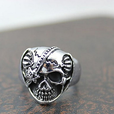 Yüzükler Skull shape Parti / Günlük / Spor Mücevher alaşım İfadeli Yüzükler9 Gümüş