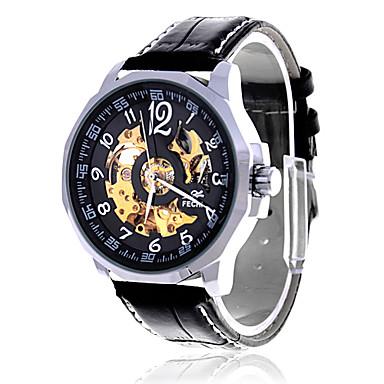 Men's Black Dial Analog Quartz Leather Black Band Water Resistant Wrist Watch