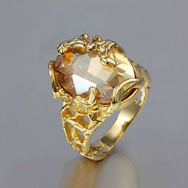 cheap Women's Jewelry-Women's Solitaire Oval Cut Statement Ring Gold Plated 18K Gold Ladies Unusual Unique Design Fashion Ring Jewelry For Wedding Party Gift Daily Casual 6 / 7 / 8 / 9 / Cubic Zirconia
