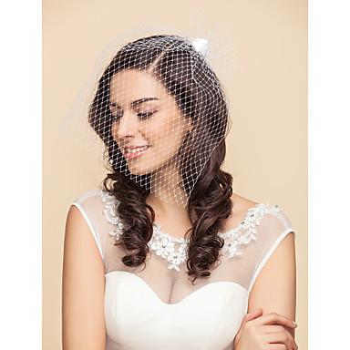 Gelin Duvakları Tek kat Allık Başlığı Kuş Kafesi Başlıklar 15.75 in (40cm) Tül Saten Beyaz SiyahA-line,Balo Elbisesi,Prenses,Dar /