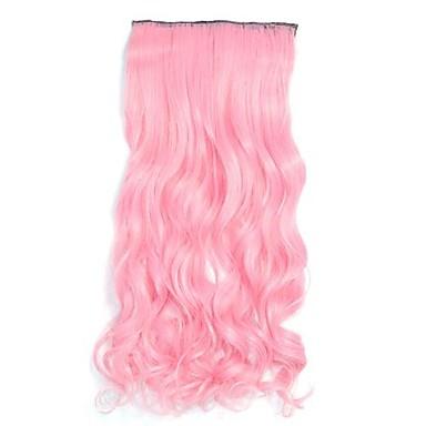 İnsan Saç Uzantıları Dalgalı Klasik Gerçek Saç Postişleri Saç parça Gerçek Saç Kadın's - Pembe