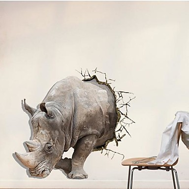 3D Rhino Duvar Etiketler Duvar Çıkartmaları