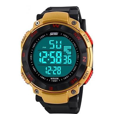 SKMEI Erkek Spor Saat Bilek Saati Dijital saat Dijital LED LCD Takvim Kronograf Su Resisdansı alarm Kauçuk Bant Siyah Mavi YeşilSiyah