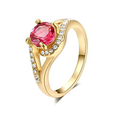 Kadın's Bildiri Yüzüğü - Kristal, Altın Kaplama Moda 7 / 8 / 9 Yeşil / Pembe Uyumluluk Düğün / Parti / Günlük