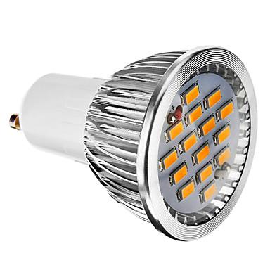 6W GU10 LED Spot Işıkları 15 SMD 5730 380 lm Sıcak Beyaz Kısılabilir AC 220-240 V