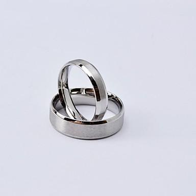 Kadın's Çift Yüzükleri mat Klasik Titanyum Çelik Yuvarlak Mücevher Günlük