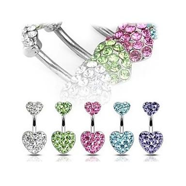 seven cerrahi titanyum çelik kristal lureme®316l kalp kolye göbek halkası (rastgele renk)