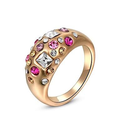 lindo moda jóias banhado a ouro com anéis de strass (uma peça)