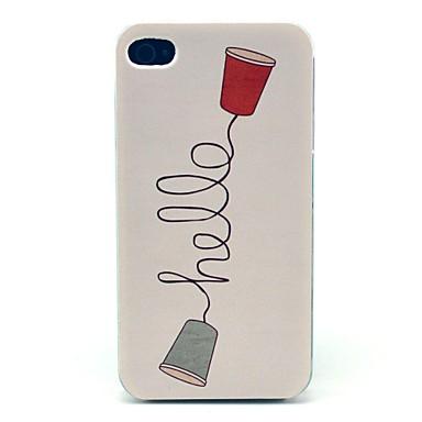 IPhone 4/4S için Retro Telefon Merhaba Desen Hard Case