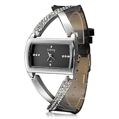 Mujer Reloj de Moda Cuarzo La imitación de diamante Brillante PU Banda Destello Elegantes Negro