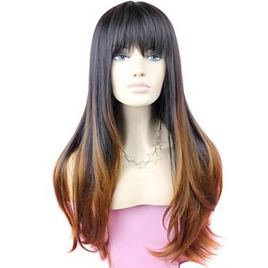 Sentetik Peruklar Dalgalı Bantlı Sentetik Saç 26 inç Ombre Saç / Koyu Renk Kökler Siyah Peruk Kadın's Uzun Bonesiz #1B / 30