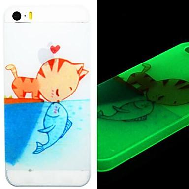 Katze küssen Fisch Glühen im dunklen Kasten für iphone 5/5s