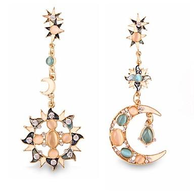 Pentru femei Cercei Picătură Diamante Artificiale cercei MOON Personalizat Lux European Bijuterii Auriu Pentru Nuntă Petrecere Zilnic Casual Sport