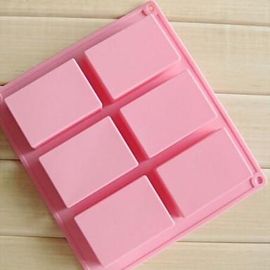 6 ฟันผุสี่เหลี่ยมทำด้วยมือ 3d แม่พิมพ์เค้กช็อคโกแลสบู่ซิลิโคน 8 × 5.5 × 2.5 ซม. (3.1 × 2.2 × 1.0 นิ้ว)