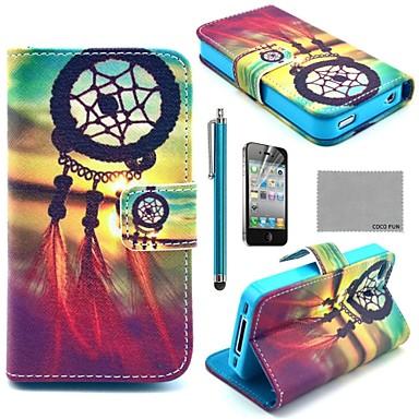 Etui Portefeuille Coco Fun® pour iPhone 4/4S avec Support, Port Cartes, Stylet et Protection Ecran, Motif Décoration Chinoise