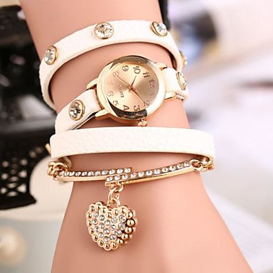 Kadın's Bilezik Saat Moda Saat Quartz Bant Heart Shape Bohem Siyah Beyaz Mavi Kırmızı Yeşil